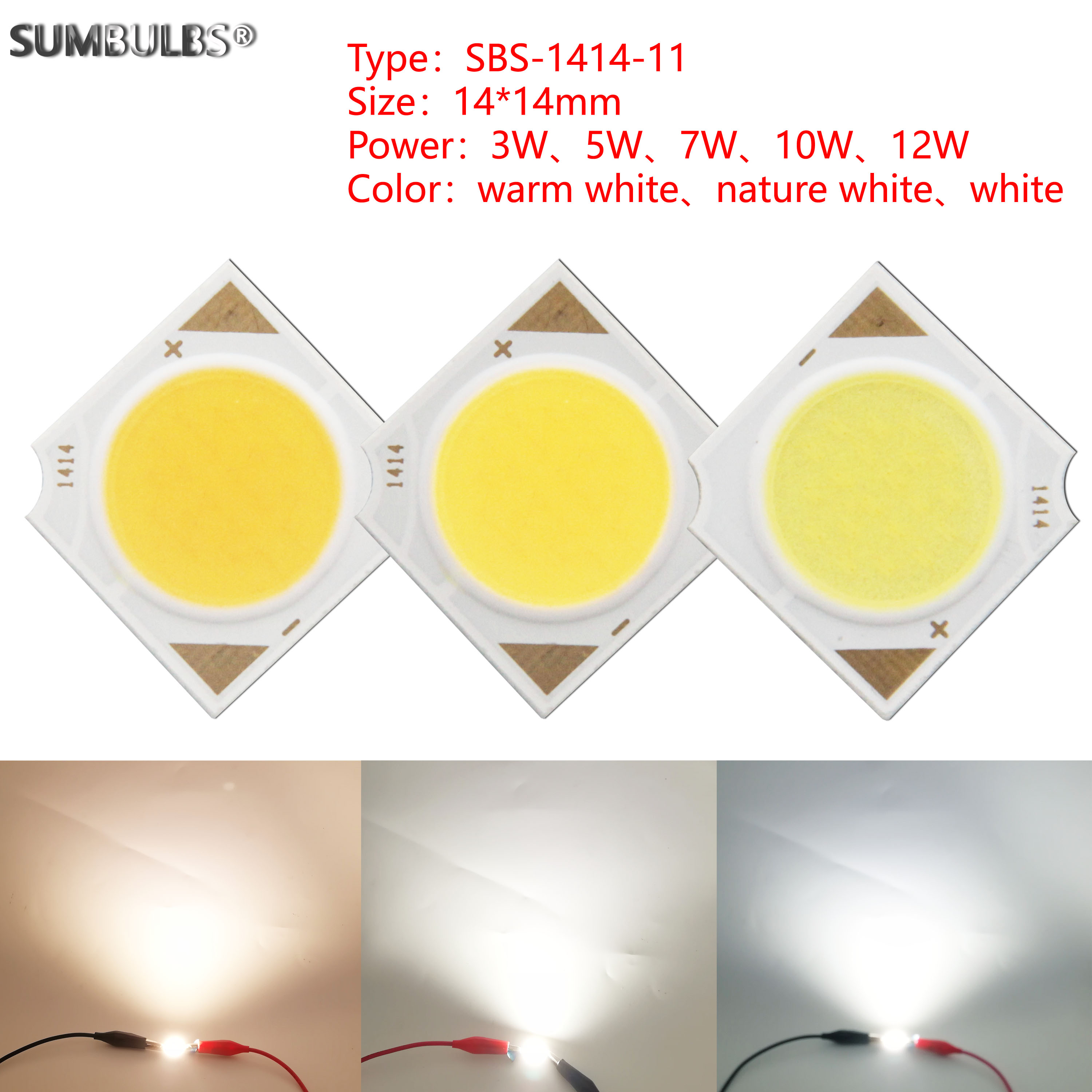 [sumbulbs] 3W 5W 7W 10W 12W 14x14mm LED COB Light Source Epistar Chips Cold Warm Nature White For Spotlight Indoor Lamp
