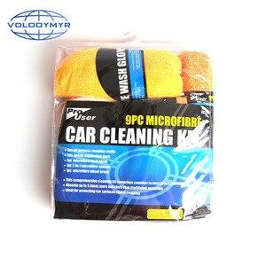 Image 5 - Herramientas de limpieza de coche 9cs, incluye microfibra, limpiador de ruedas, inglete, cepillo de cera, esponja para cuidado automático, Carwash