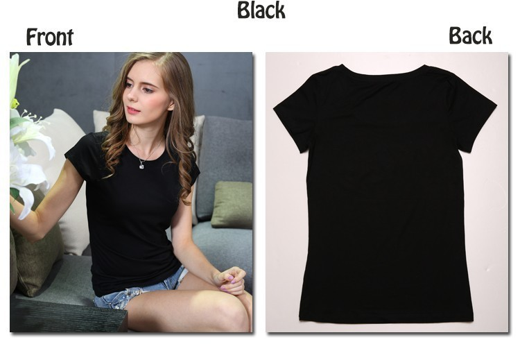 High Quality Plain T Shirt Women Cotton Elastic Basic T-shirts 24