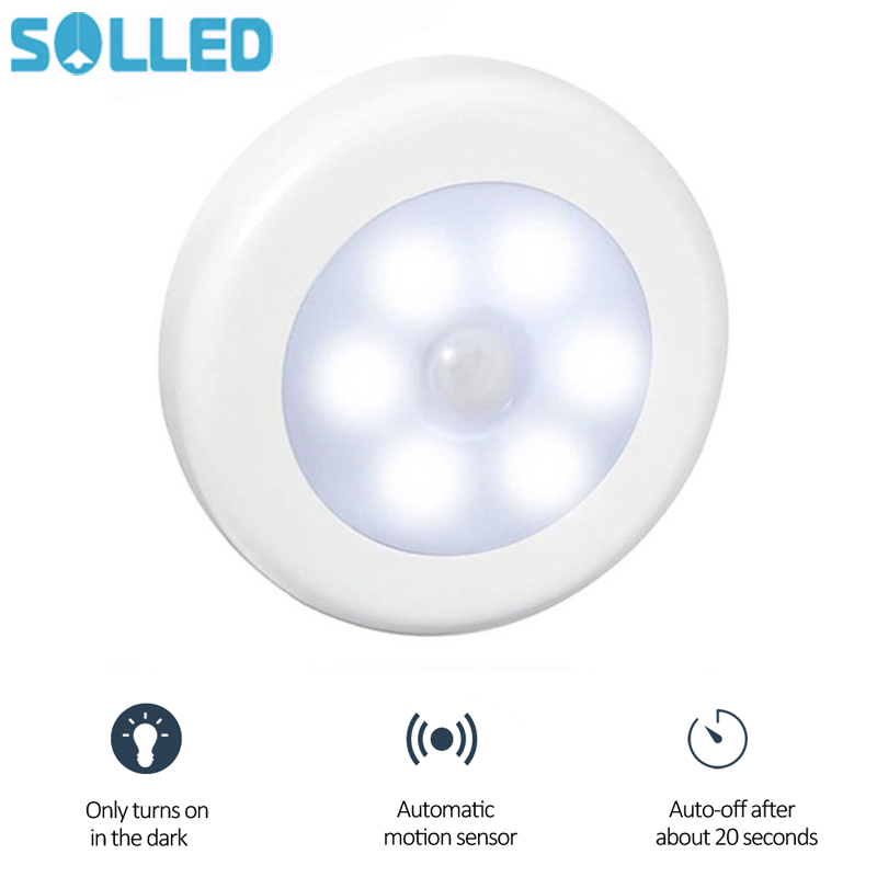 6X Wireless PIR 6LED Auto Motion Sensor Infrared Night Light Cabinet Stair Lamp