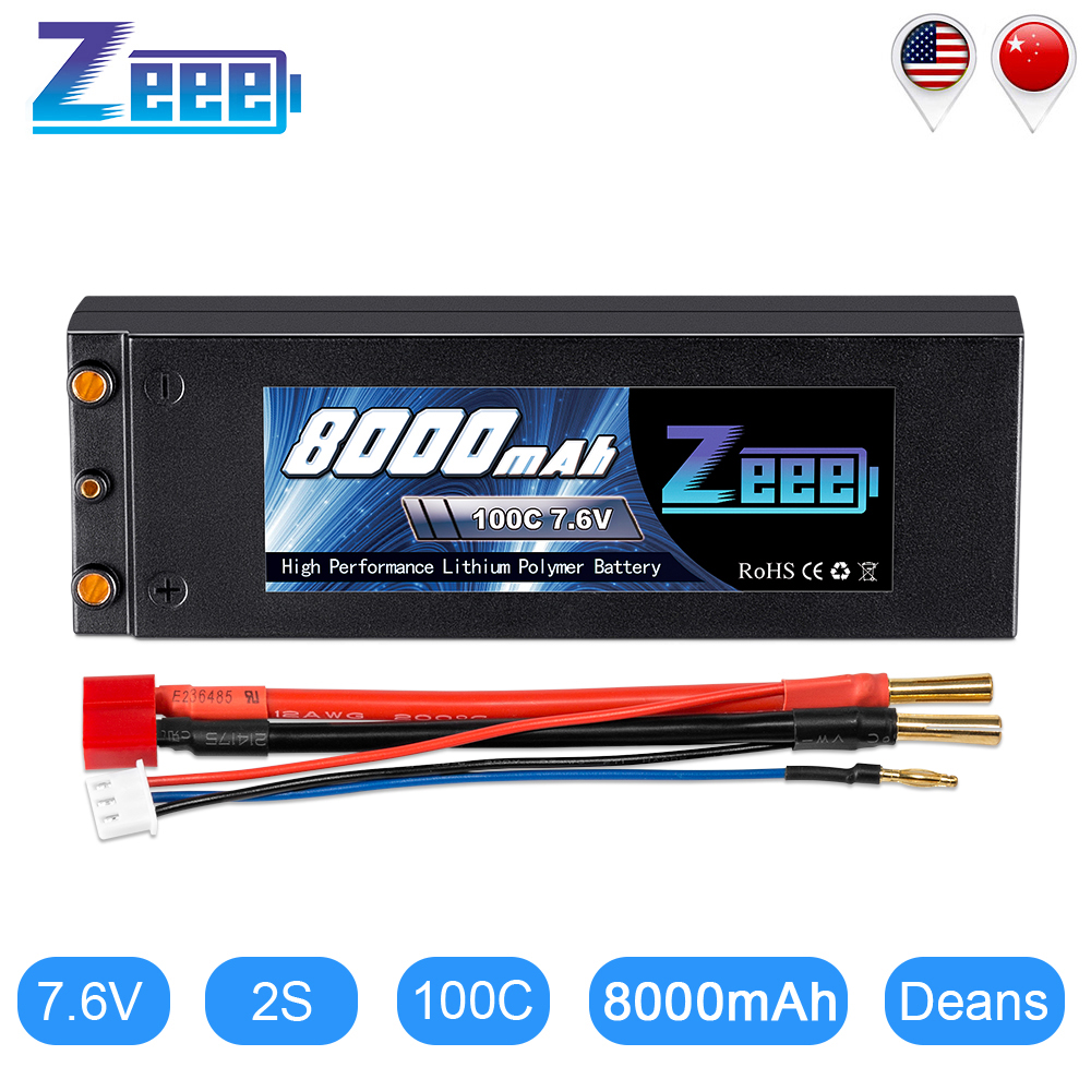 Zeee 7.6V 8000mAh 100C Lipo Battery Hard Case RC Car Battery Charger with 4mm Bullet Deans Plug RC Lipo Battery for Truck Buggy