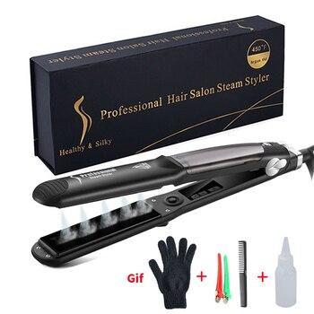 цена на Professional Steam Hair Straightener Ceramic Vapor Hair Flat Iron Seam Hair Straightening Iron Curler Steamer Hair Styling Tool