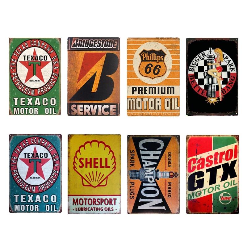 Motor Oil Retro Metal Tin Sign Poster Metal Sign Pub Garage Gas Station Plaque Metal Vintage Home Decor Wall Art Bar Decoration