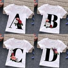 Abcd carta impressão crianças camiseta engraçado bebê recém-nascido da criança camiseta verão macio casual crianças em torno do pescoço roupas 11982