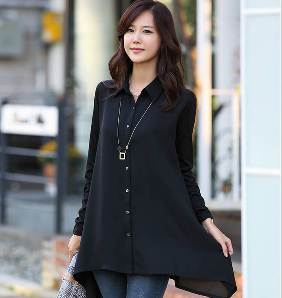 Black Chiffon Shirts Blouses Womens Irregular Shirt Long Sleeve For Autumn 2019 Loose Casual Solid Color Blouses Plus Size 5XL