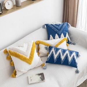 Наволочка ручной работы Марокканская темно-синяя наволочка с бахромой квадратная Прямоугольная подушка 45x45 см 30x50 см домашний декор