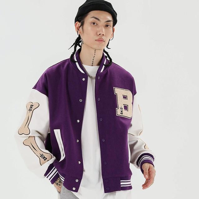 Aolamegs Furry Bone Letter Patch Color Block Patchwork 3 color Optional Harajuku College Style Bomber Jacket Men Baseball Coats 4