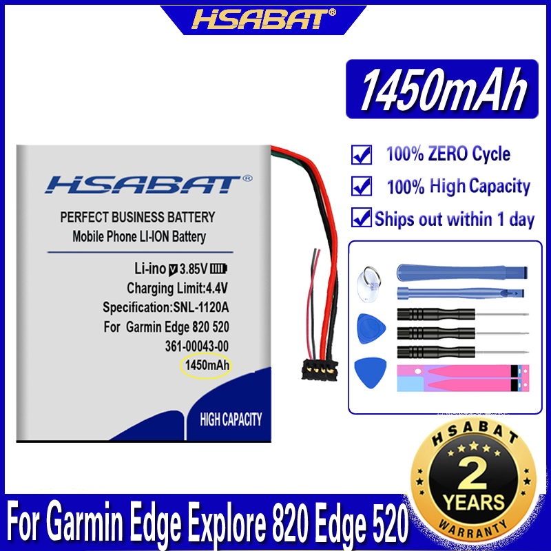 Hsabat bateria 361-00043-00 1450 mah, para garmin edge explorar 820 edge 520 500 200 205 gps edge 520 plus edge820 edge 820