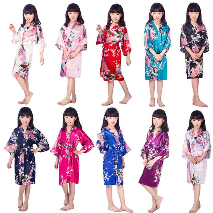 11Color Japanese Pajamas For Girls Kimono Traditonal Print Peacock Thin Loose Night Gown Kids Japan Style Yukata Robes