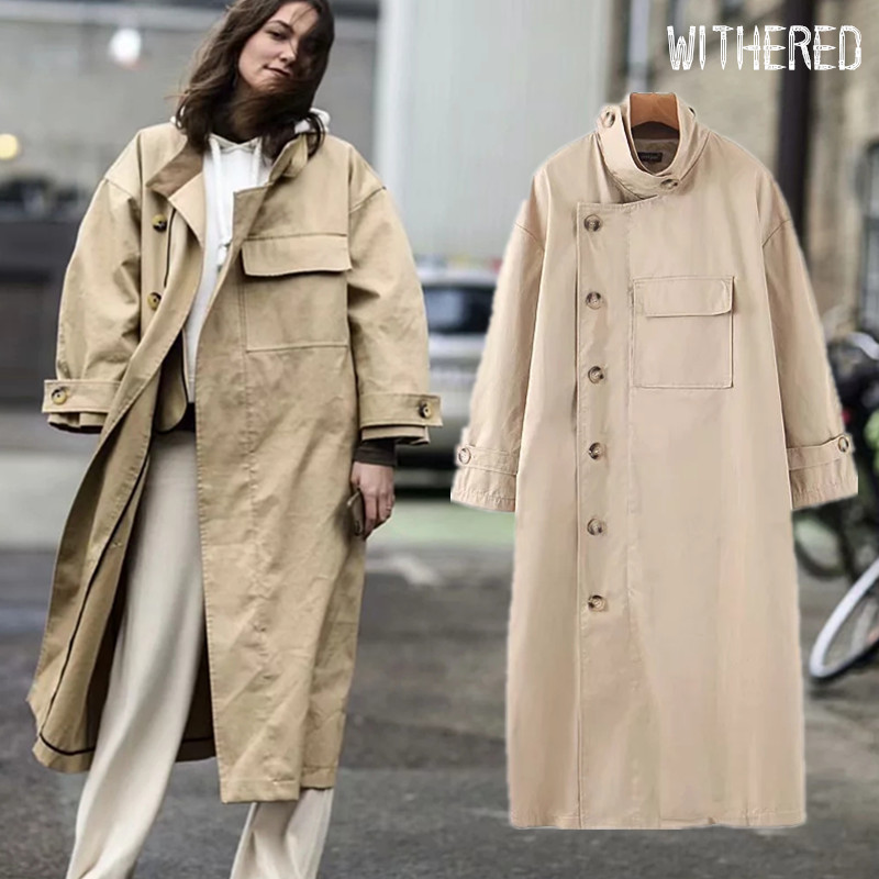 Withered Winter Trench Coat Women England Fashion Blogger Vintage Big Pockets Oversize Asymmetry Personality Long Coat Women