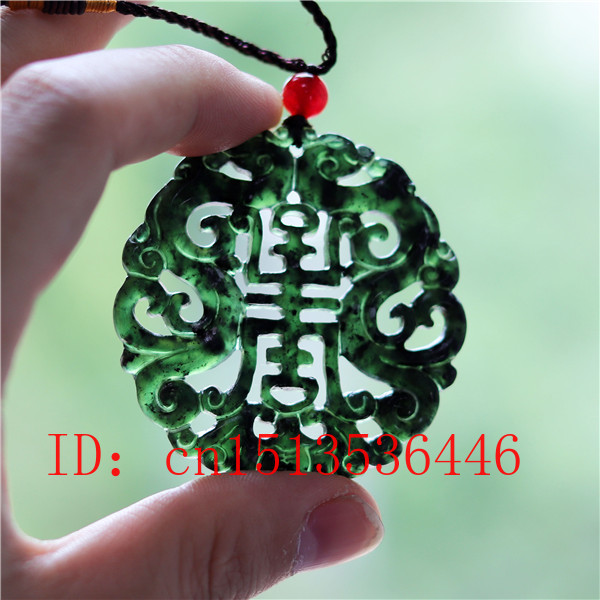 Hollow Out Double-sided Carved Bat Phoenix Jade Pendant Natural Chinese Black Green Necklace Charm Jewellery Lucky Amulet Gifts