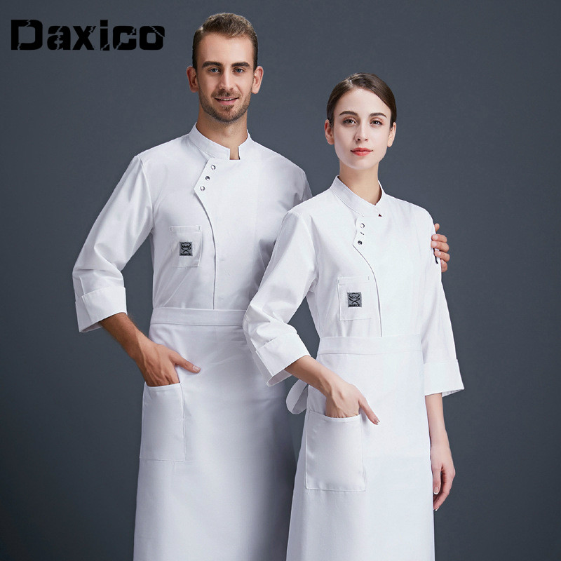 New Arrival Hotel Food Service Chef Jacket Long Sleeve Restaurant Uniform Autumn Cafe Cooking Staff Work Wear White Chef Uniform