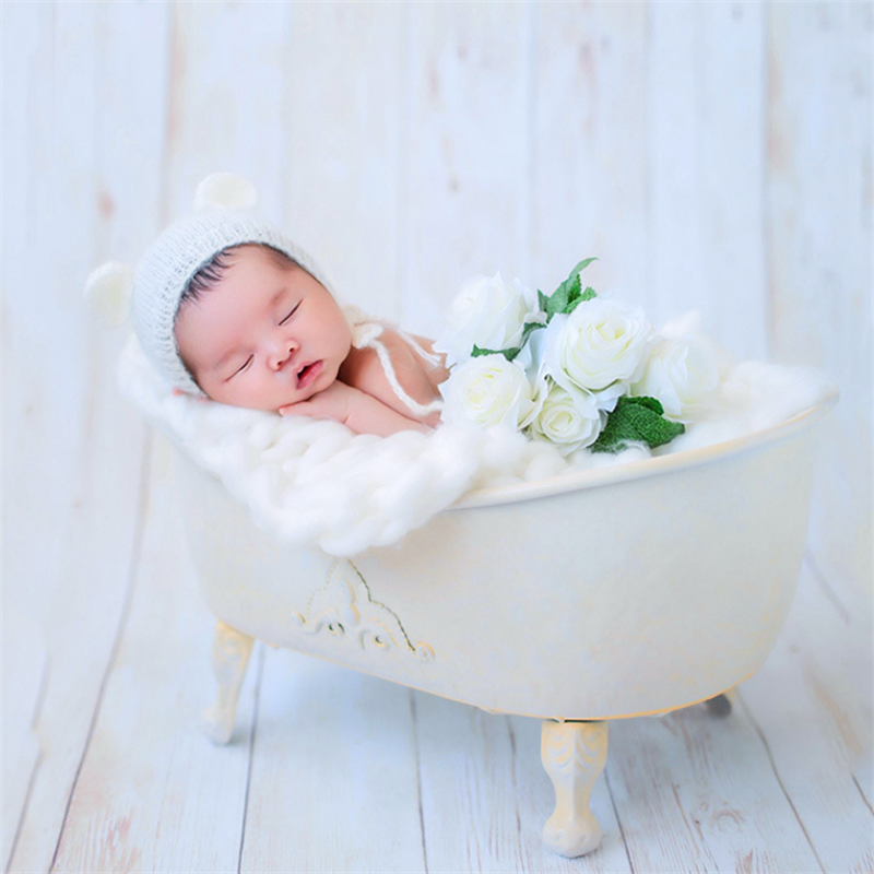 Baby Wrought Iron Bathtub Newborn Photography Props Baby Bathtub Infant Basket Studio Photo Accessories