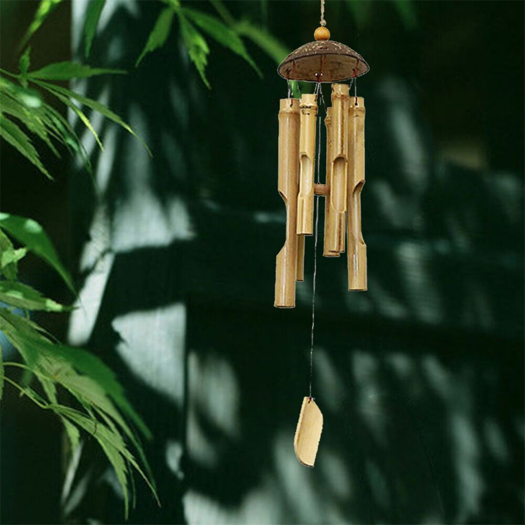 Bamboo Wind Chimes Big Bell Craft Wood Handmade Indoor And Outdoor Wall Hanging Wind Chime Decoration Room Decor 46 Cm Long #LR4