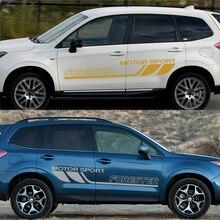 цена на 2 Pcs Car Stickers Car Door Side Trim Stickers for Subaru Forester Vinyl Sports Film Body Decoration Wraps Car Accessories