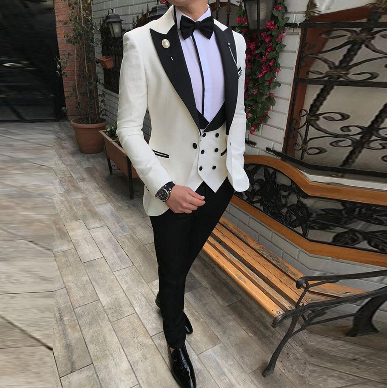 Мужские костюмы из 3 предметов, приталенные деловые костюмы, смокинги для жениха, цвета шампанского, благородные, серые, белые, для официальных свадеб, костюм (Блейзер + брюки + жилет)