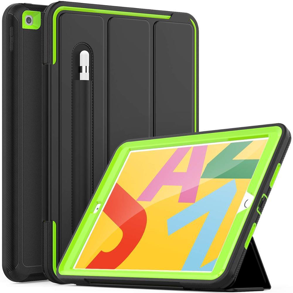 Lime Green For iPad 7th Generation Case Flip Heavy Duty Rugged Protective Case with Auto Wake Sleep Smart