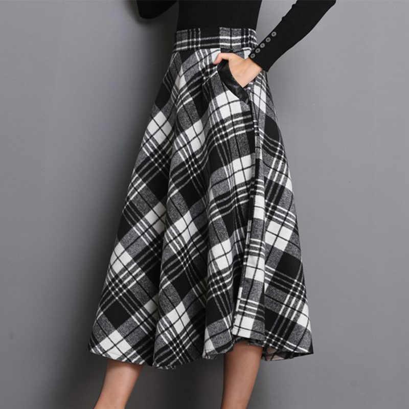 High Waist A Line Women Long Skirt Plus Size 4XL England Plaid Woolen Ladies Skirts Woolen Pleated 2020 Tartan Female Bottom