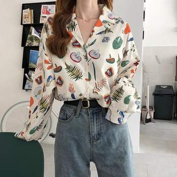 Spring Summer Vintage Print Female Blouse Autumn Fashion Loose Long Sleeve Shirts V Neck Women Tops vintage floral print v neck half sleeve blouse for women