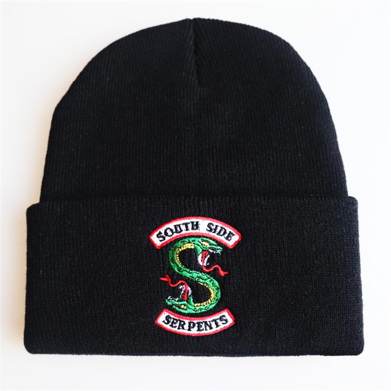 TV Series Riverdale South Side Serpent Cosplay Costume Hat Adult Man Woman Embroidered Dome Knit Hat Warm Pullover Hip Hop Trend