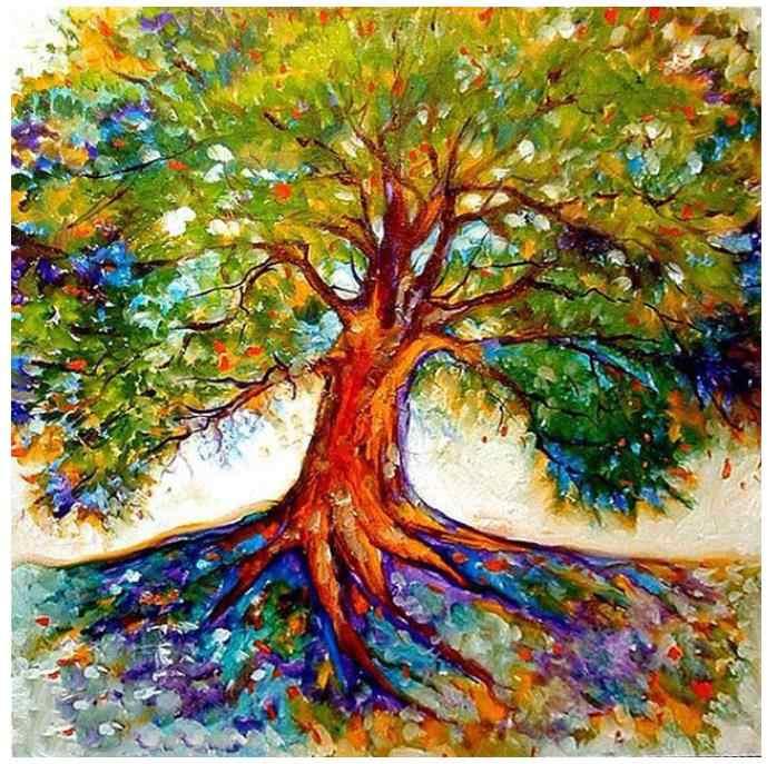 Pintura al óleo de diamante cuadrado completo árbol dimundo bordado decoración diamante puntos rompecabezas cuentas imágenes diamand mosaico pegatinas artesanía