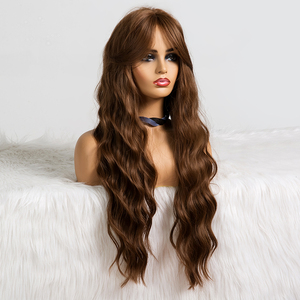 Image 2 - EASIHAIR Long Brown Body Wavy Synthetic Wigs With Bangs High Density Wigs for Women Cosplay Wigs Heat Resistant Hair Wig