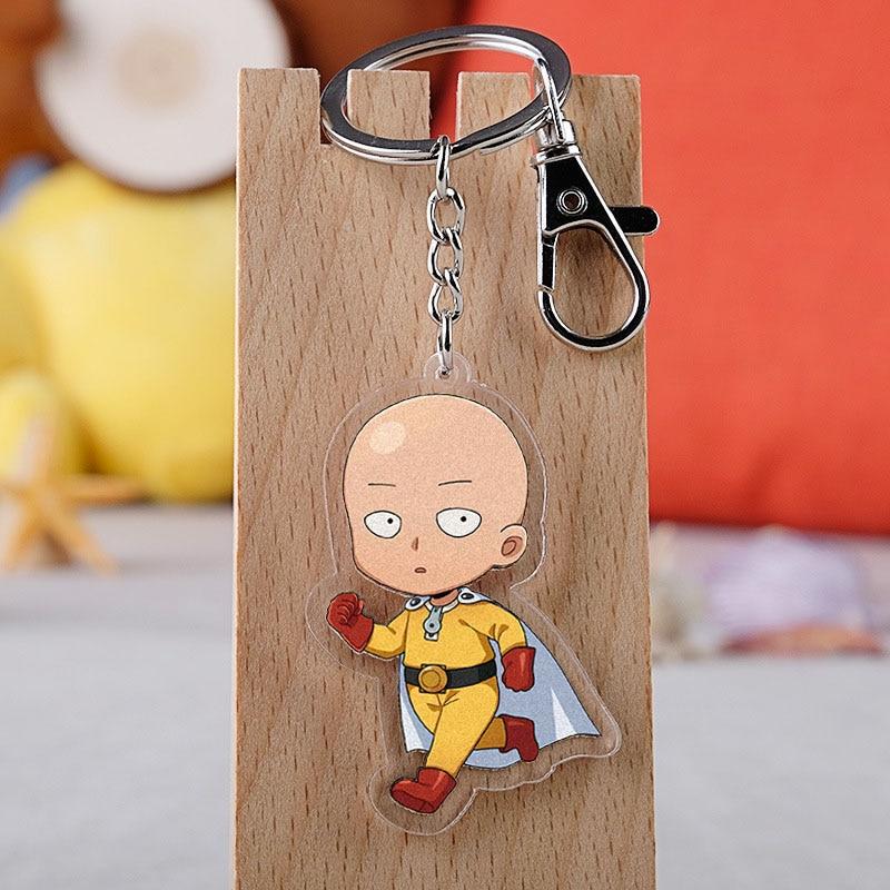 Anime One Punch Man Keychain Cartoon Figure Acrylic Key Ring