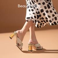 BeauToday High Heel Slippers Women Sheepskin Genuine Leather Bow knots Peep Toe Summer Ladies Outdoor Slide Shoes Handmade 35078