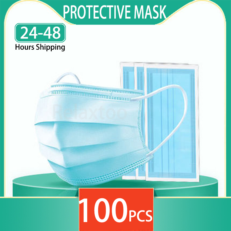 IN STOCK Disposable Masks 3 layers Non Woven Anti Dust Mouth Mask Soft Breathable Face Masks Protective Mask Maschera Facemasks
