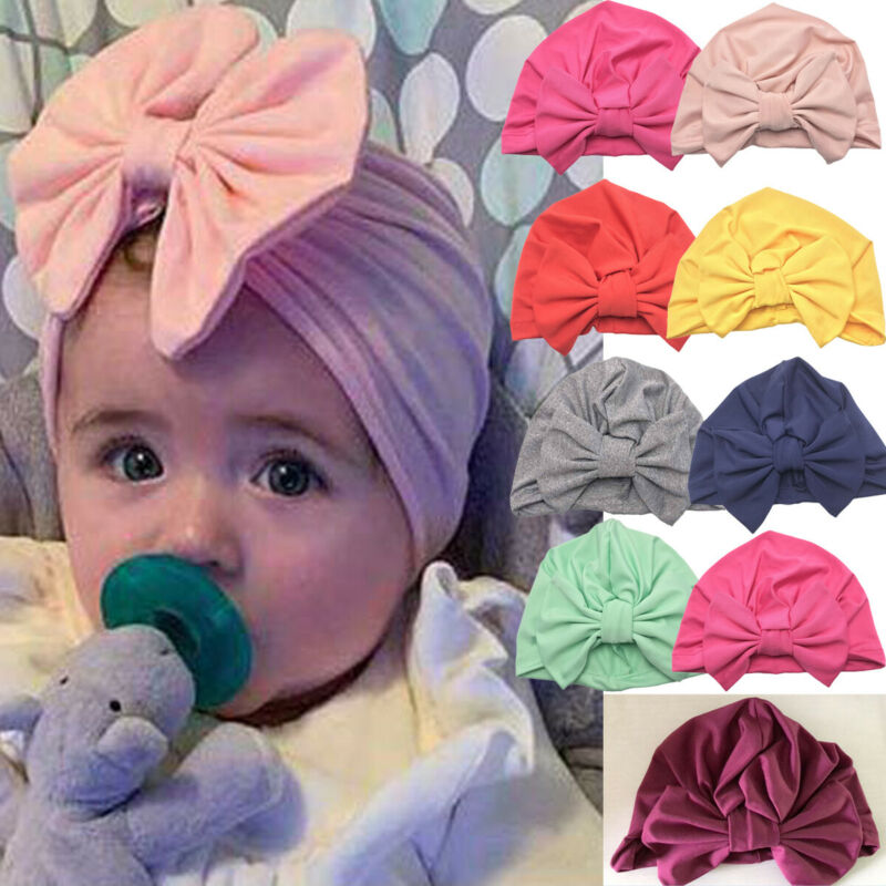 Goocheer Solid Baby Girl Turban Knot Head Wrap Cute Rabbit Ear Hat Bunny Ear Cotton Cap Cotton Blend Bandanas