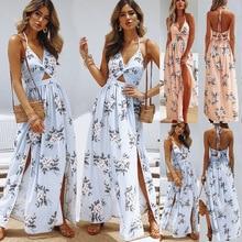 Printed front split backless dress summer sexy bow women's beach dress sleeveless strap women's Maxi dress split bow back frilled mixed media dress