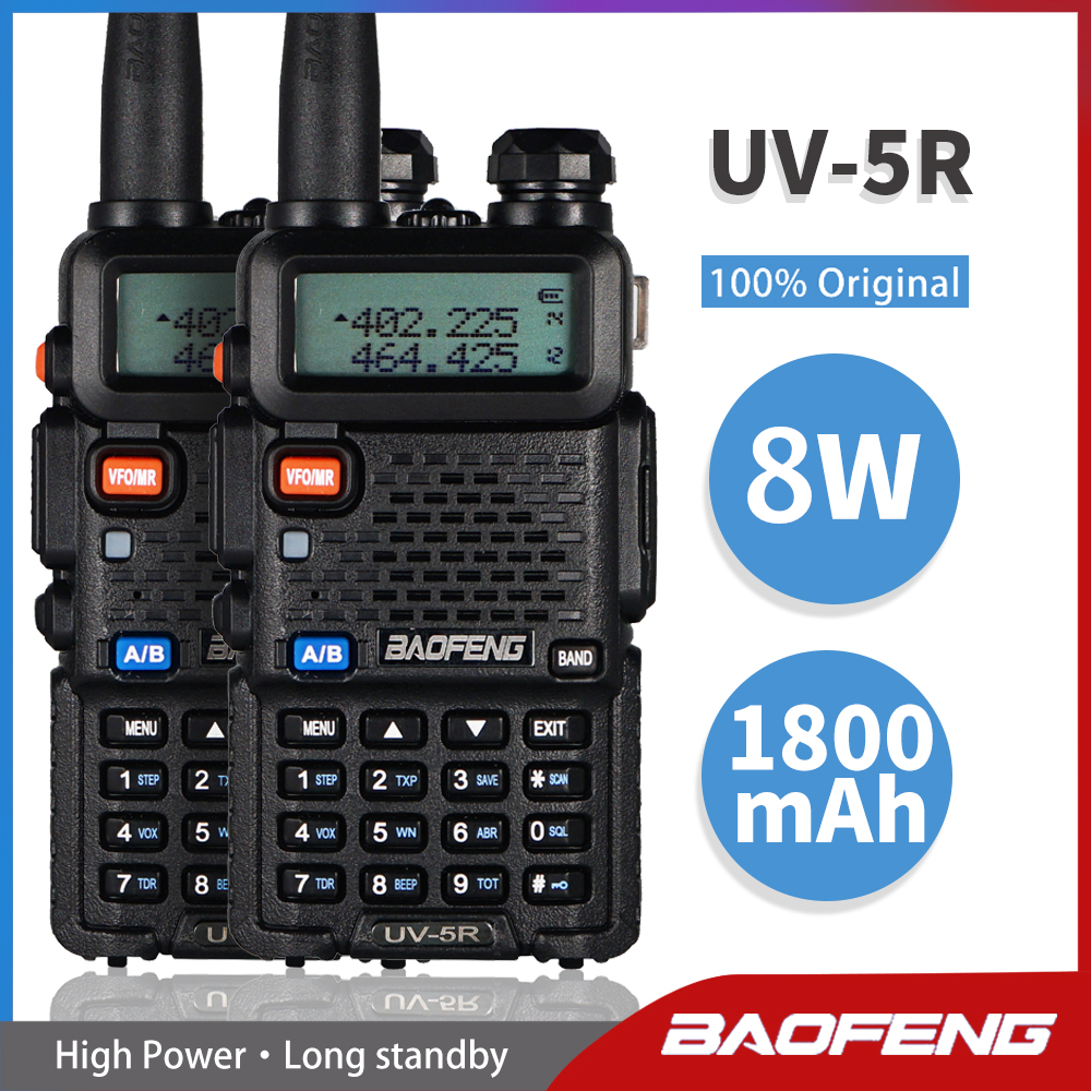 2pcs Real 8W Baofeng Uv-5r Walkie Talkie High Power Portable Ham CB Radio Uv 5r Dual Band VHF/UHF FM Transceiver Two Way Radio