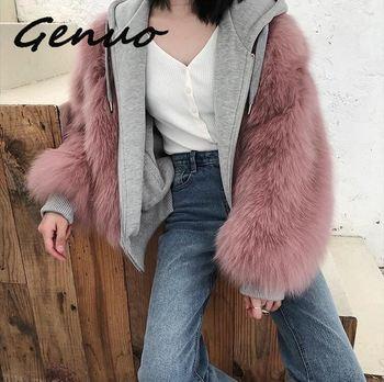 Genuo New 2019 Faux Fur Winter Coat Women Fox Thick Warm Pink Jacket Double-side Wear Loose Parkas