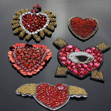 Handmade Beaded Angel Wings Heart Patches Craft Red Heart Badges Brooches Badges for Sew on Applique Shoes Bags Decorated(China)