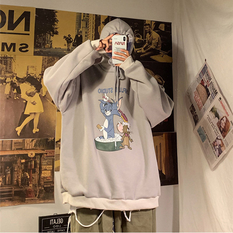 Cute Cartoon Printed Sweatshirts Tops Couple Hoodies Men Autumn Loose Long Sleeve Japan Hoodies Men Women Harajuku Tops Boys