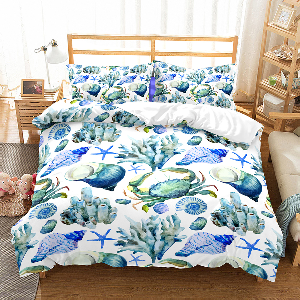 Sea Life Duvet Cover Set Shell Crab Starfish Print Microfiber Bed Linen Set For Boys Girls Full Queen King Double Single Bedding