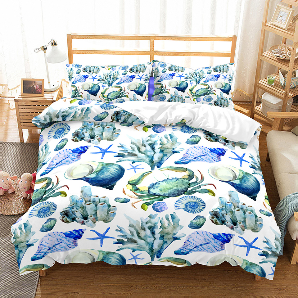 Sea Life Duvet Cover Set Shell Crab Starfish Print Microfiber Bed Linen Set For Boys Girls Full Queen King Double Single Bedding Bedding Sets Aliexpress