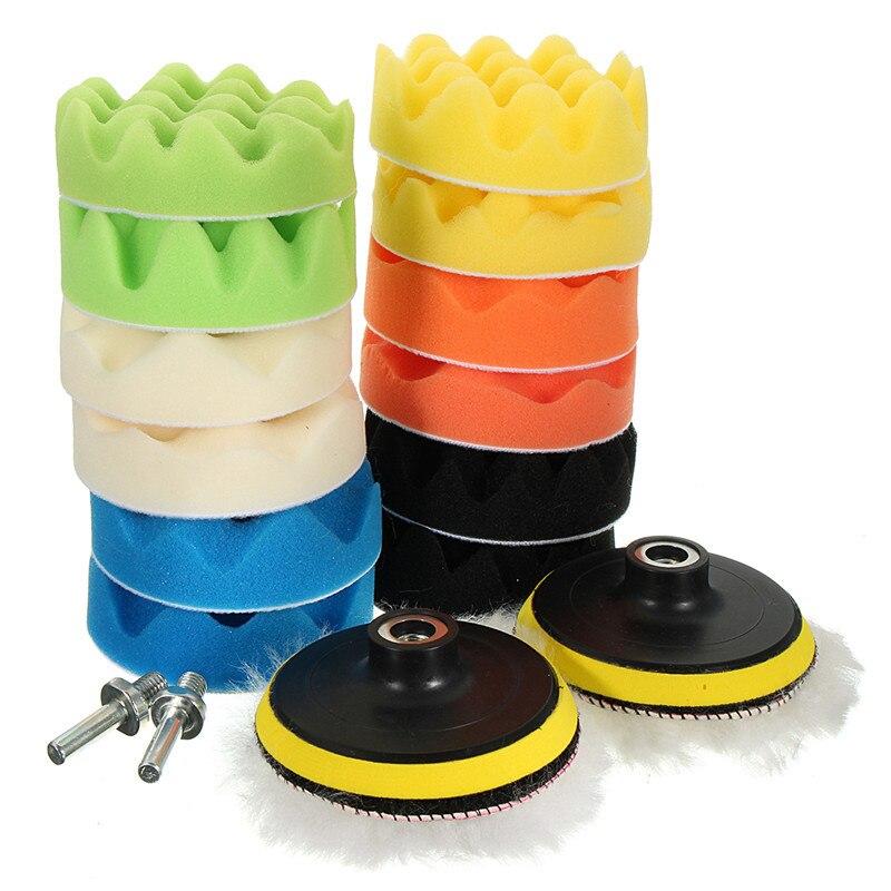 16pcs 4inch Sponge Polishing Foam Waxing Buffing Pads Kit Compound Auto Car Drill