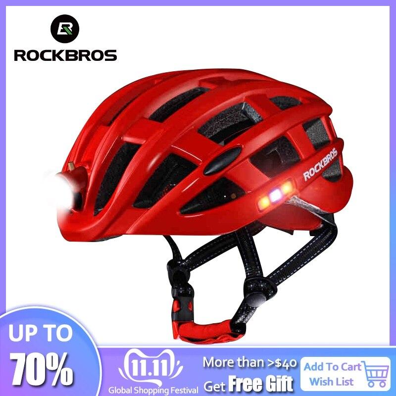 Capacete Ultraleve de Ciclismo ROCKBROS Capacete de Ciclismo Com Luz Intergrally-moldado Mountain Road Capacete de Bicicleta Homens Seguros Mulheres 49-59 cm