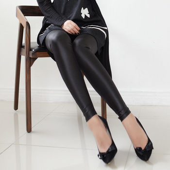 Sexy Women Faux Leather Pants Matt look Pant high waist Stretch Black leather Slim pants leggings black leather look leggings
