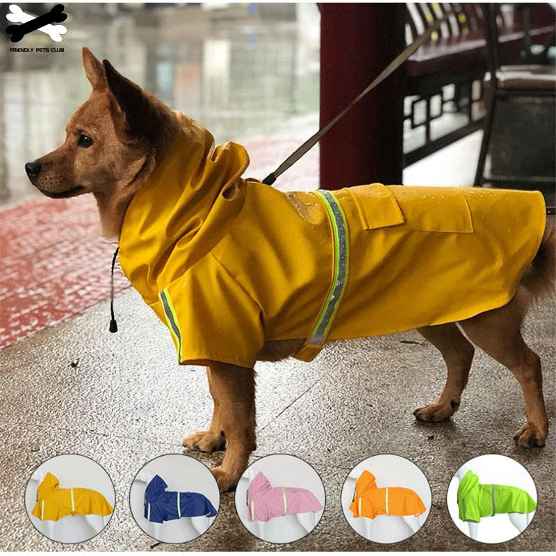 Dog Raincoat 8 Sizes Available With Hood Waterproof Rain Jackets Reflective Safety Strips Pet Raincoat Functional Safety Jacket