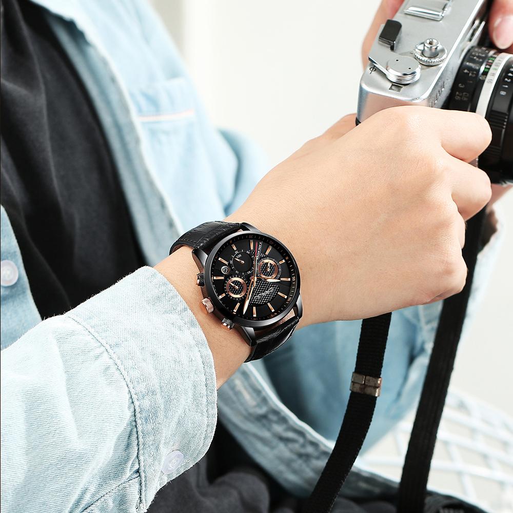 CRRJU, nuevos relojes de moda para hombre, relojes de pulsera analógicos de cuarzo, cronógrafo resistente al agua de 30M, reloj deportivo con fecha Relojes De Correa De Cuero para hombre 18