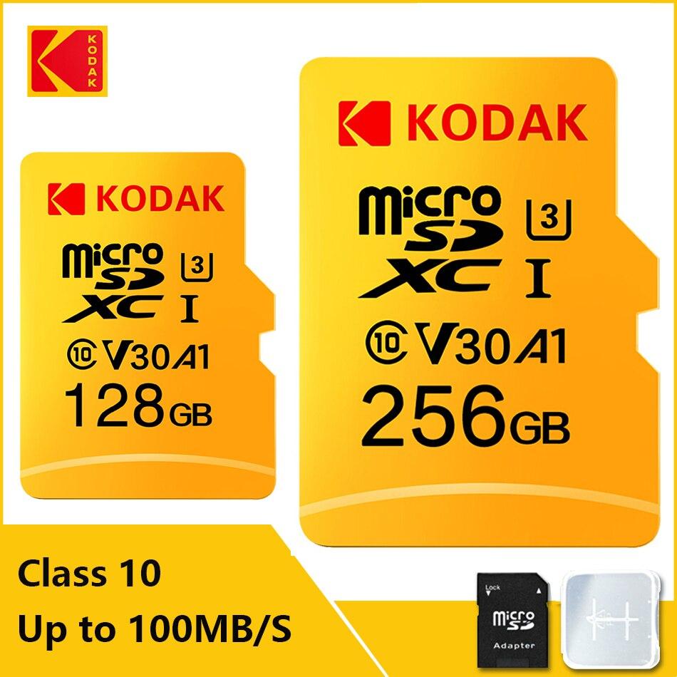 Kodak-tarjeta de memoria de alta velocidad 100 MB/s, 32GB, clase A1, 10, UHS-I, 64GB, 128GB, V30 tarjeta Micro SD, U3, TF, para cámara, juego de teléfono inteligente
