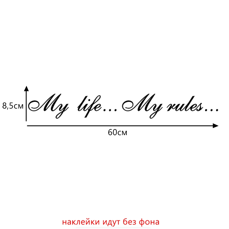 Three Ratels TZ-640 8.5*60cm 1-2 pieces My life…My rules… car stickers and decals auto sticker