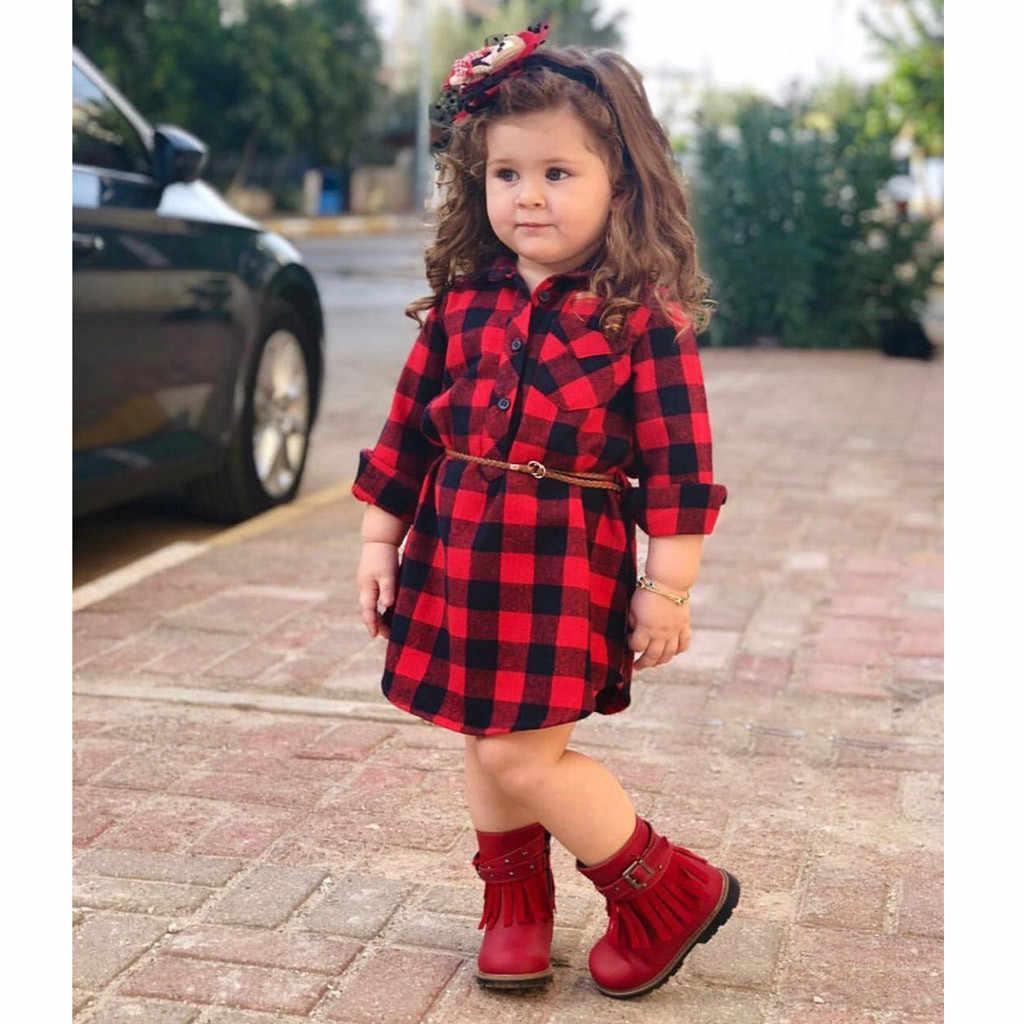 เด็กทารกเด็กวัยหัดเดินลายสก๊อตพิมพ์เจ้าหญิงชุดเข็มขัดชุดชุดเดรสสำหรับสาวเสื้อผ้าชุดสาวชุด