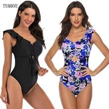 2020 Sexy Ruffle One Piece Swimsuit Women Swimwear Push Up Monokini Bodysuit Print Swim Suit Backless Bathing Suit Beach Wear XL