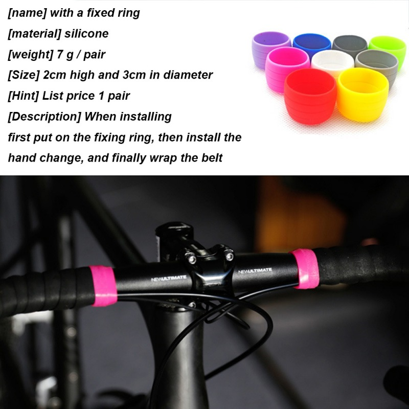 1 Pair Silicone Bike Grips Band Ring Elastic Waterproof Handlebar Tape Wrap Cover For Road Bicycles 2x3cm Blue,Black,Green,Red