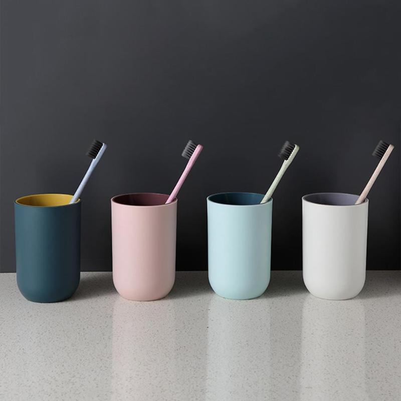 Pure Color Toothbrush Tumbler Large-capacity Drinking Cup Simple Style Circular Small Potted Plant Cup Bathroom Supply image