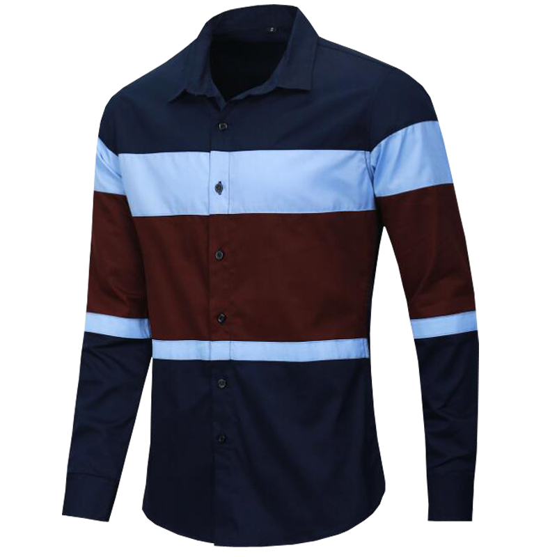 NEW shirt Business casual long sleeve patchwork men shirts High quality brand 100% cotton shirt men Plus Size chemise homme