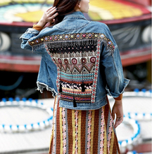 KHALEE YOSE Floral Embroidery Denim Jacket Women Autumn Jean Jackets Sequin Tassel Oversized Gypsy Ethnic Vintage Coat Outerwear